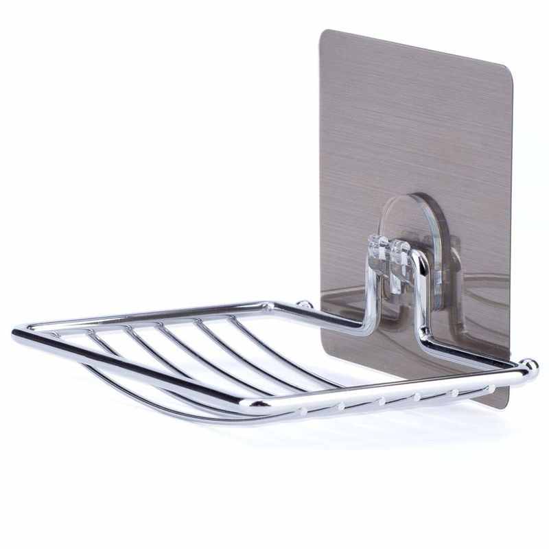 Chrome Bathroom Soap Holder High End Suction Cup Soap Dish  Wall Mount