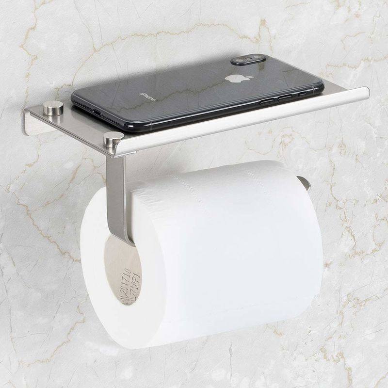 Stainless Steel Toilet Paper Holder / Commercial Toilet Roll Holder With Shelf