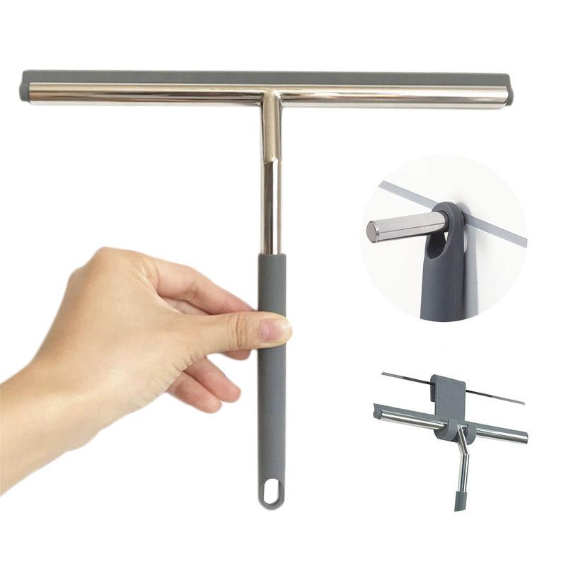 Stainless Steel Window Squeegee With Silicone Blade / Hook